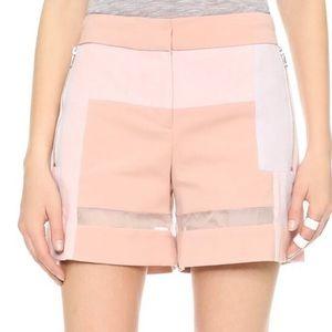 Rebecca Taylor pink patchwork sheer shorts